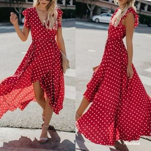 Dresses & Skirts - Polka dots wrap maxi hi low boho party dress